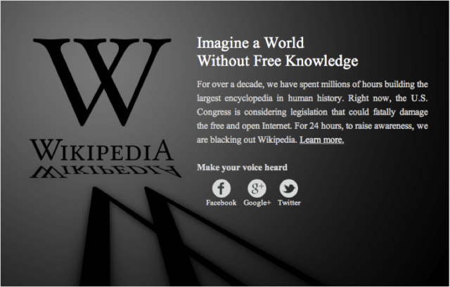 Wikipedia's website during the 24hour shutdown protesting SOPA